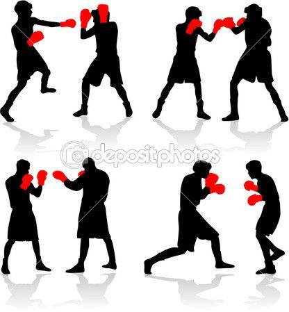 Siluetas negras de boxeadores. Guantes rojos. Reflejando la sombra.