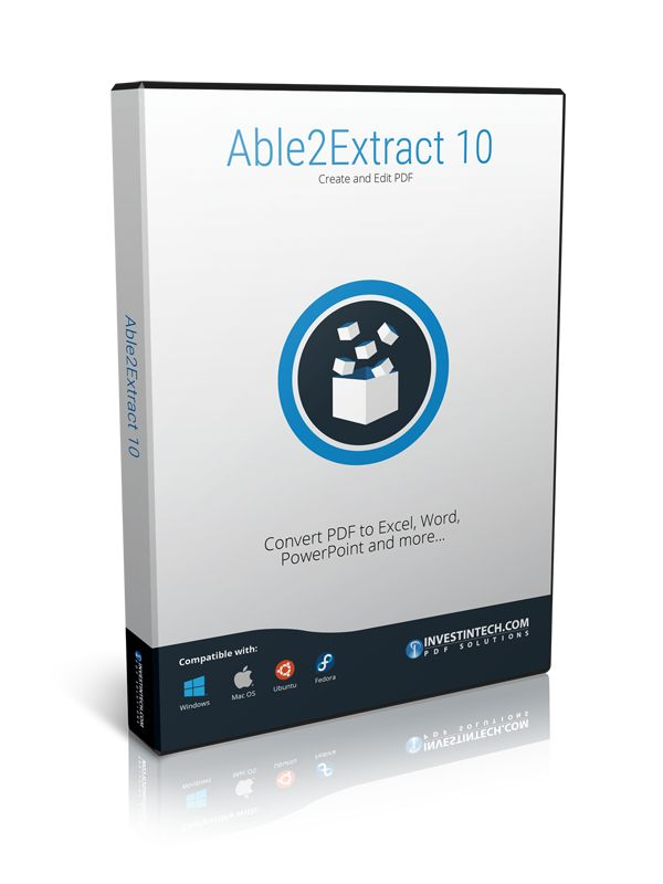 Able2Extract is the PDF converter on the market that effectively boosts your PDF productivity on Windows, Mac and Linux. Convert PDF to Word, Excel, PowerPoint, Publisher, AutoCAD and CSV formats. Get picture perfect PDF creation with advanced security options and quickly modify PDF text and pages when needed. All PDF tasks are done in a sleek intuitive user interface that simplifies the entire process.