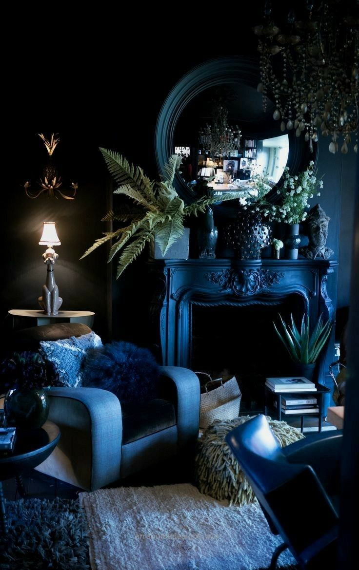 Drama Living Room With These Deep Blue Shades Interiors