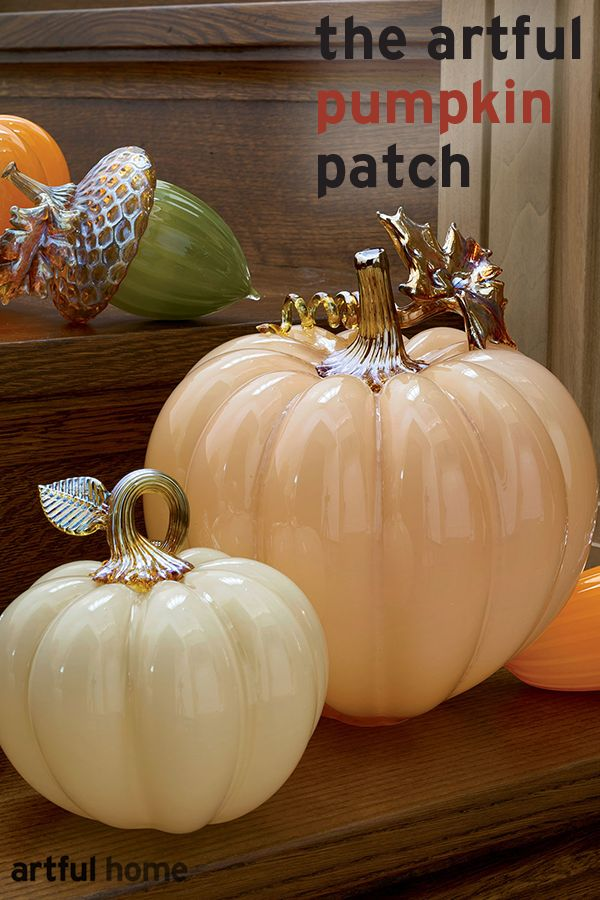 With their lustrous gleam and perfectly plump shape, these blown glass pumpkins could have been harvested from a fairy-tale garden. Find them all at www.artfulhome.com