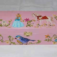Scatola / contenitore con principessa o fata e cavallo per tesori dei bambini, scatola di legno,  portagiocattoli, portagioie, unica