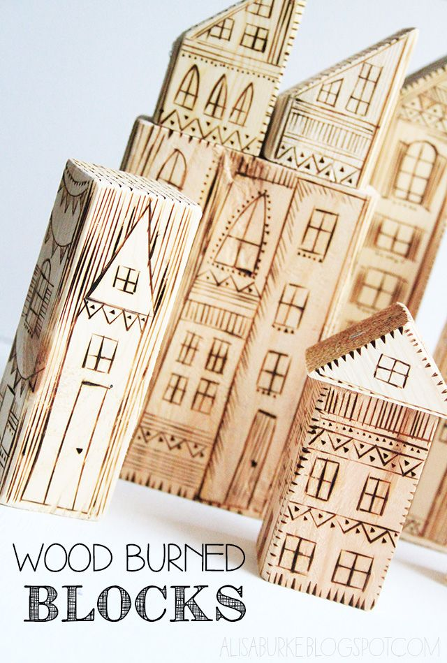 These are super cool! and you could make your own village. via: alisaburke: wood burned blocks