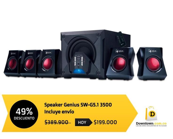 El mejor sonido estéreo para disfrutar de tus juegos o películas. Hoy speaker Genius con descuento. Compra este producto y encuentra más en www.Downtown.com.co