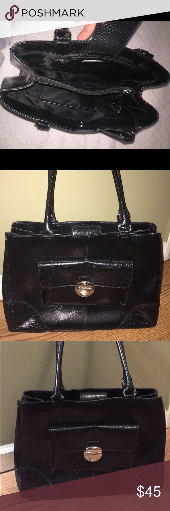 ANNE TAYLOR Loft Black Leather Handbag Business Beautiful Ann Taylor Loft Black Leather with embossed trim business bag with key.  Double handle carry, with key detail lined interior with four feet bottom. This bag iOS in Excellent Condition with little signs of wear. Ann Taylor Bags Shoulder Bags
