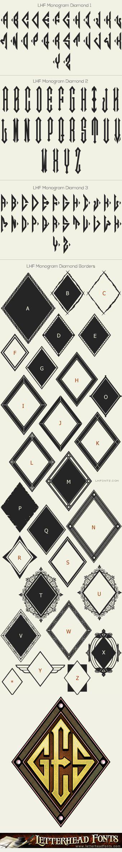 Letterhead Fonts / LHF Monogram Diamond font set / Monogram Fonts