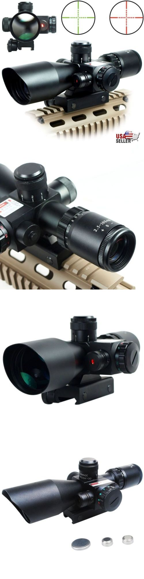 Red Dot and Laser Scopes 66827: 2.5-10X40 Tactical Rifle Scope Red Green Mil-Dot Illuminated Red Laser Mount -> BUY IT NOW ONLY: $45.99 on eBay!