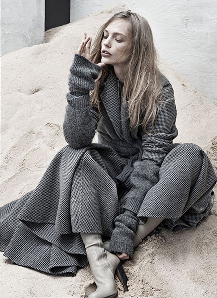 Grey, Cozy, Coat - Women's Fashion
