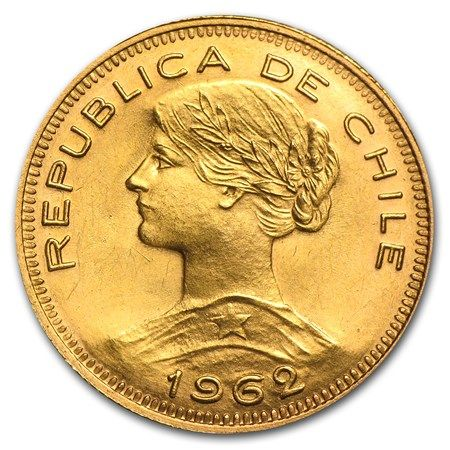The artistic design on these Chilean 100 Pesos coins is highly sought after by world Gold coin collectors. Description from apmex.com. I searched for this on bing.com/images