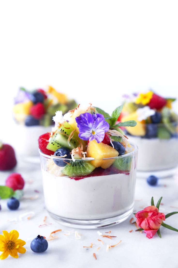 Haupia {Coconut} Pudding with Fresh Fruit