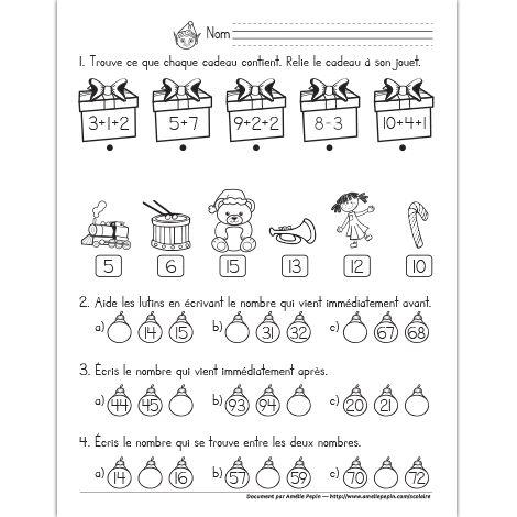 Fichier PDF téléchargeable En noir et blanc seulement 1 page  Voici un exercice de Noël pour dénombrer et situer les nombres. Les élèves trouvent ce que chaque cadeau contient en associant la bonne réponse à son équation. Par la suite, ils inscrivent les nombres qui sont situés immédiatement avant, après ou entre les nombres donnés.