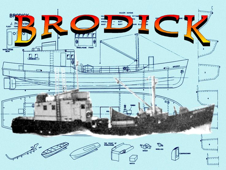"""Full size Printed Plans Scale 1:48 L 19 13/16"""" BRODICK Fleet Tender Suitable for small radio control or Display"""