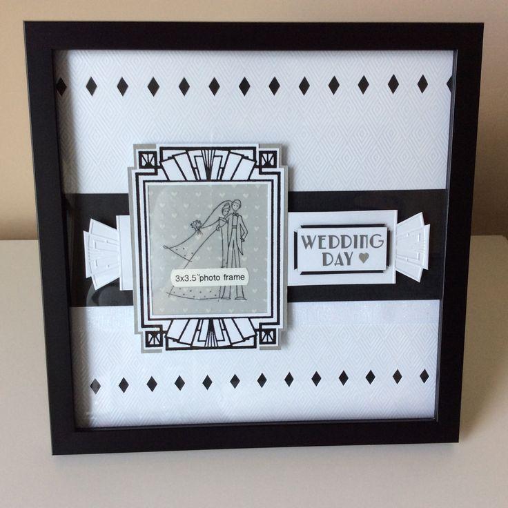 Wedding Photo Memory Page, Framed, Art Deco Style, Handmade Wedding Gift, Scrapbook Sketch by PendantPaper on Etsy