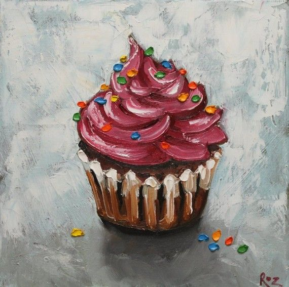 20x20 Print of oil painting Cupcake96 by Roz on Etsy, $55.00