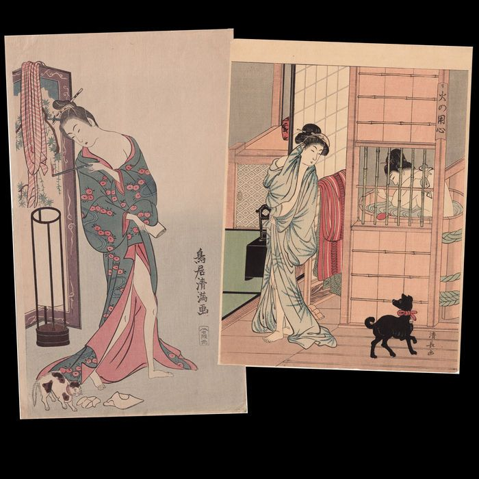 """Twee Japanse Woodblock afgedrukt """"Schoonheid met kat"""" (1760s) Kiyomitsu en """"Schoonheid met hond"""" (1780s) door Kiyonaga - Japan - jaren 1920  Twee Japanse Woodblock prenten """"Schoonheid met Cat"""" door Torii Kiyomitsu (1735-1785) en """"Schoonheid met hond"""" door Torii Kiyonaga (1752-1815) revarved/afgedrukt in de jaren 1900-1920.Het origineel is door Kiyomitsu: 1760sHet origineel is door Kiyonaga: """"A Woman opkomende uit het bad en een Black Dog"""" uit de serie vergelijking van de charmes van de…"""