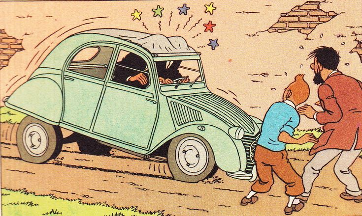 Tintin • the Thompson twins • the castafiore emerald • the reason I have a 2CV is because of Tintin and the Thompson Twins driving a 2CV • Citroen 2CV duck • riawati • citroen 2CV art