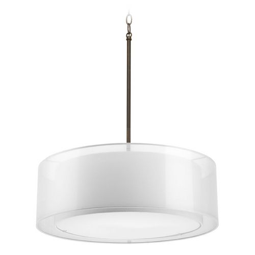 Progress lighting modern drum pendant light with white null shades in antique bronze finish p5037