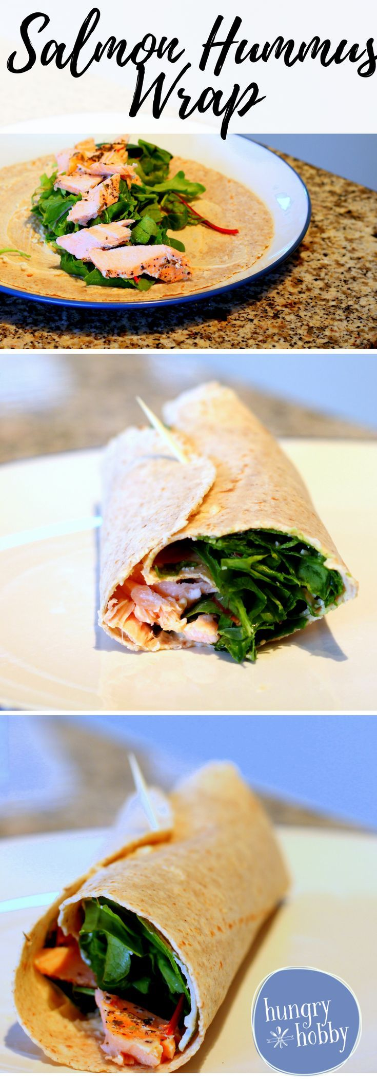 Salmon Hummus Wrap, the best thing to do with your salmon dinner leftovers! via @hungryhobby