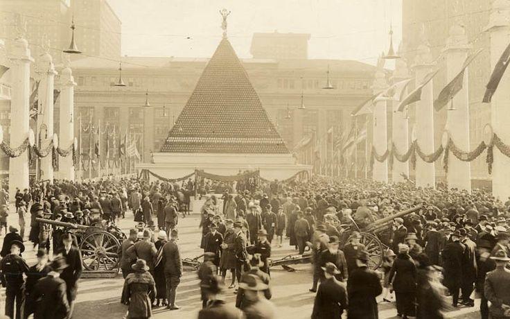 The pyramid of captured German helmets, NY, 1918