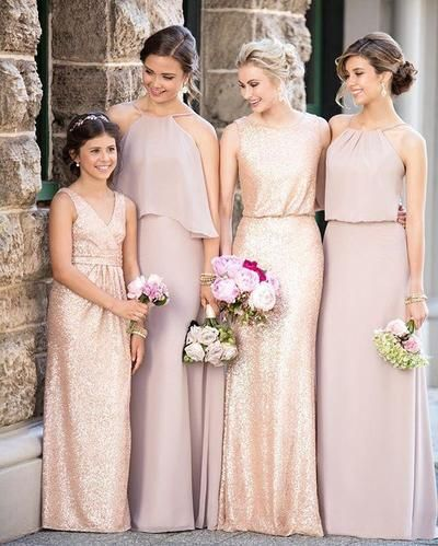 Cheap Mismatched Dark Gold Sequin Long Bridesmaid Dresses, Affordable Unique Custom Long Bridesmaid Dresses, BD110 from LoverDresses