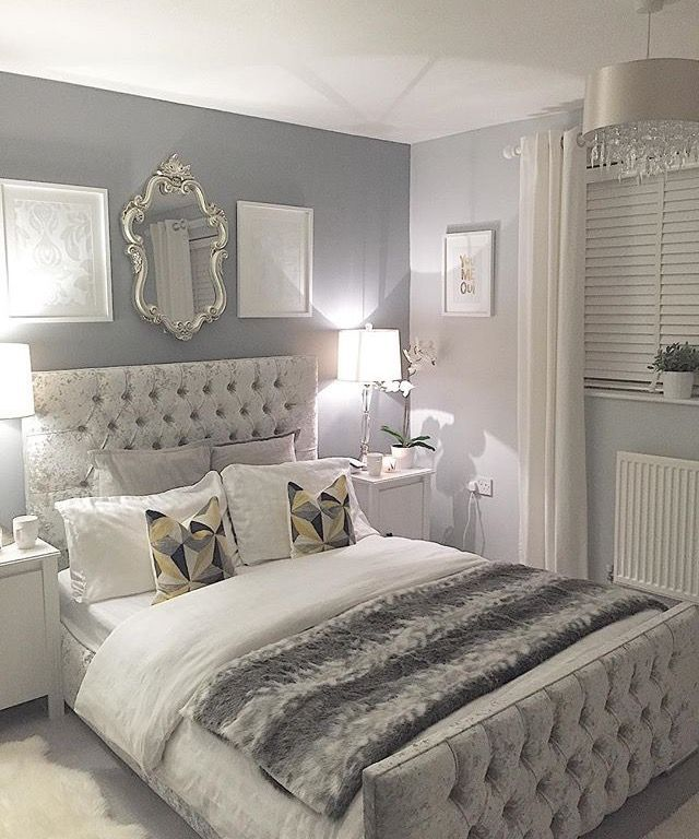 i love that headboard and the color of the room not the faux fur blanket though grey bedroom decorwhite. Interior Design Ideas. Home Design Ideas