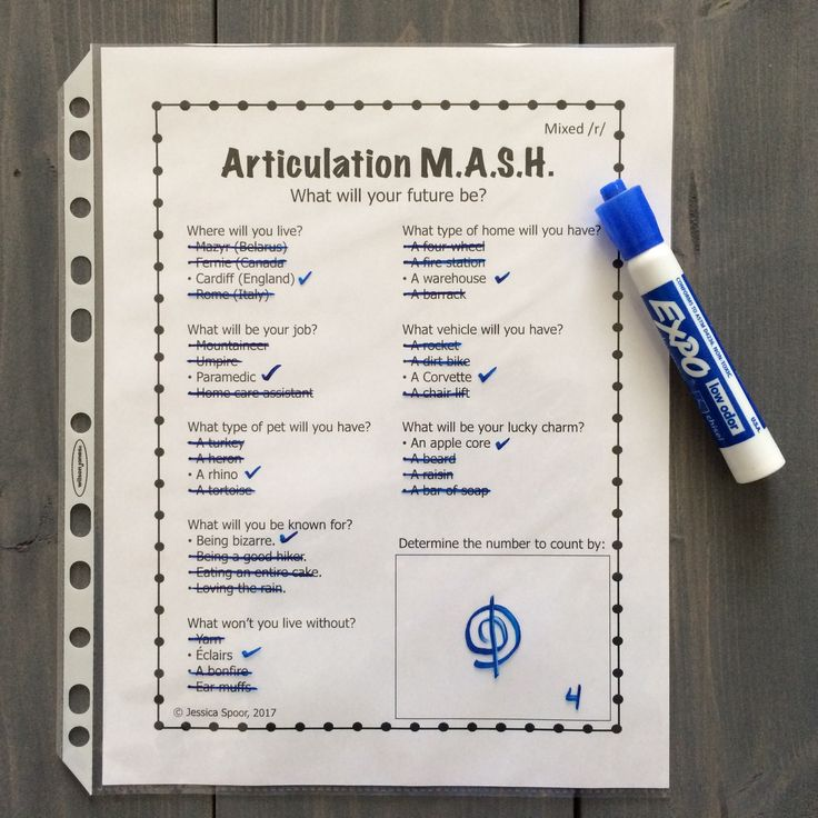 Articulation MASH! Have clients predict their future while practicing their speech sounds! Sheets available for /v, th, s, z, l, r, sh, ch, j/