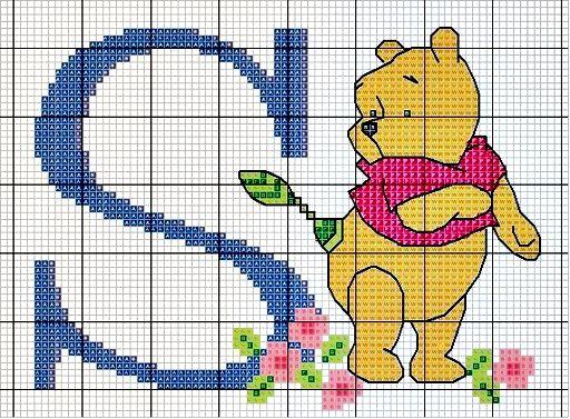 #Monograma Ursinho Pooh - letra S #bordado #CoatsCorrente