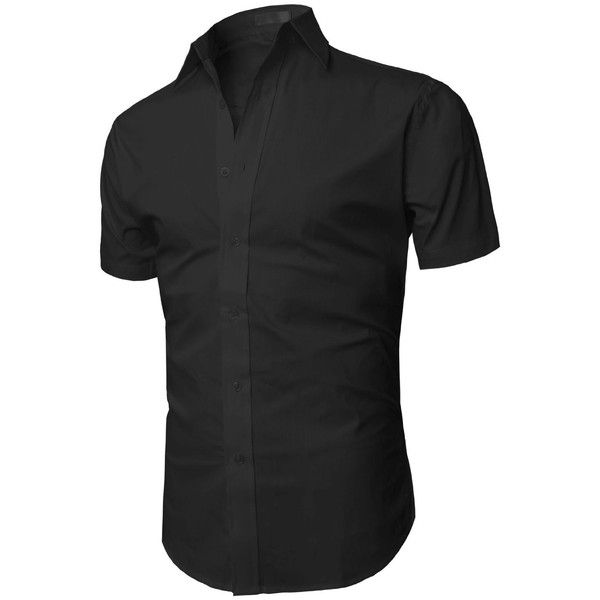 Not black H2H Men's Wrinkle Free Slim Fit Button-down Short Sleeve Shirt