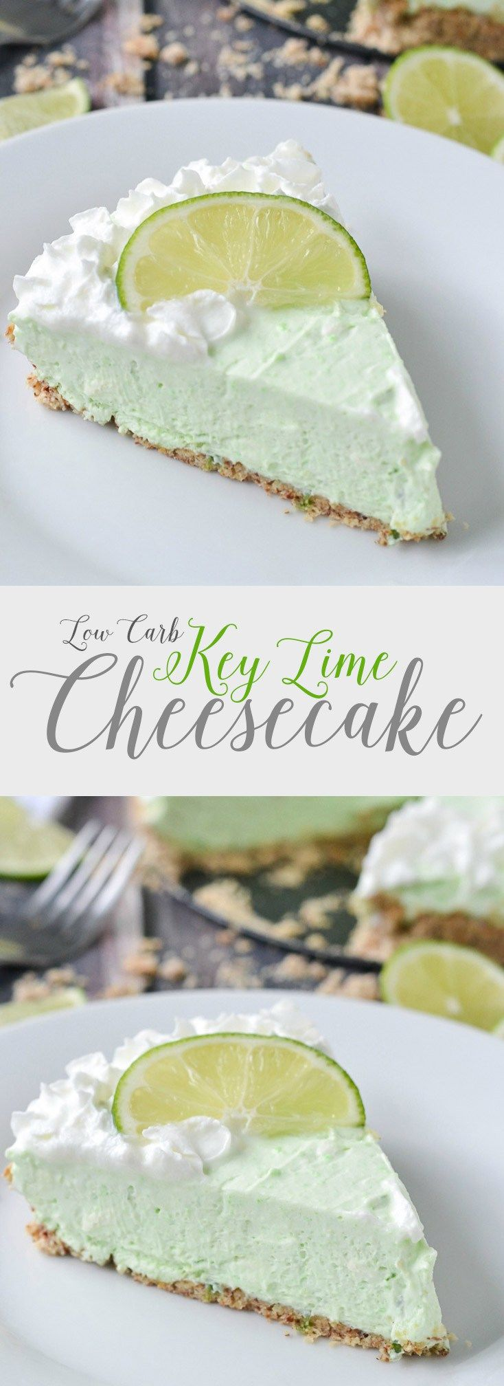 Low Carb Key Lime Cheesecake | An easy recipe for rich and creamy low carb key lime cheesecake. Not only is this cheesecake delicious it's easy to make too!