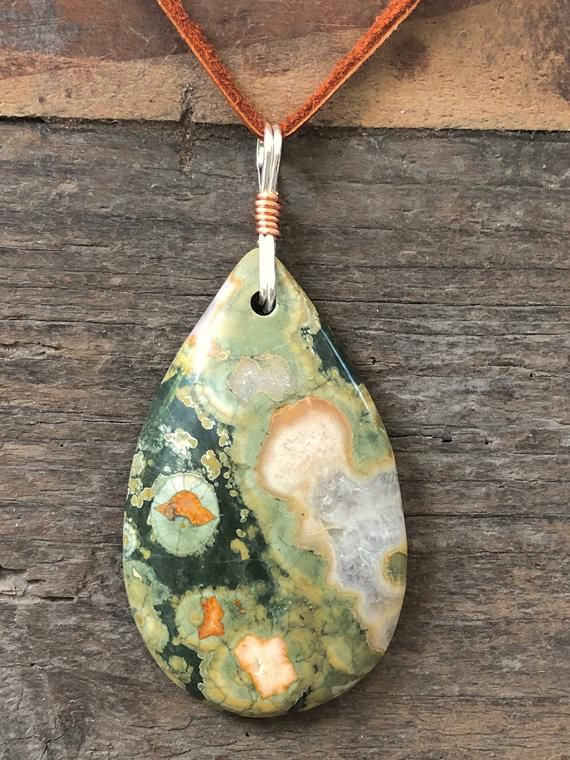 Rain forest Rhyolite Pendant Necklace with CopperAdjustable Length