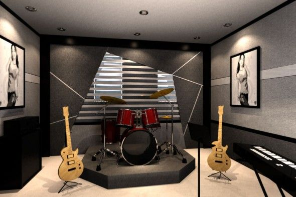 Decorating Charming Home Music Room for Your Inspiration: Minimalist Home Music Room With Grey Wall