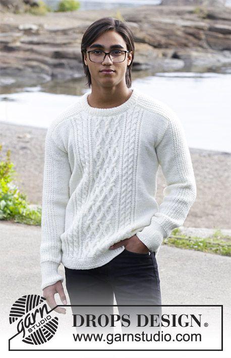 Strikket bluse med snoninger til herre. Str 13/14 år – XXXL.  Arbejdet er strikket i DROPS Merino Extra Fine
