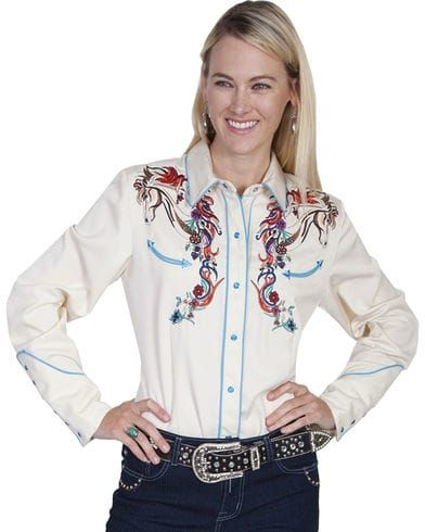 Scully Women's Colorful Horse Embroidered Long Sleeve Shirt, Cream