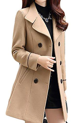 00625ab70ce JWK Women s Double-Breasted Slim Solid Wool-Blend Winter Pea Coats Khaki  Large deals  sale  Christmas