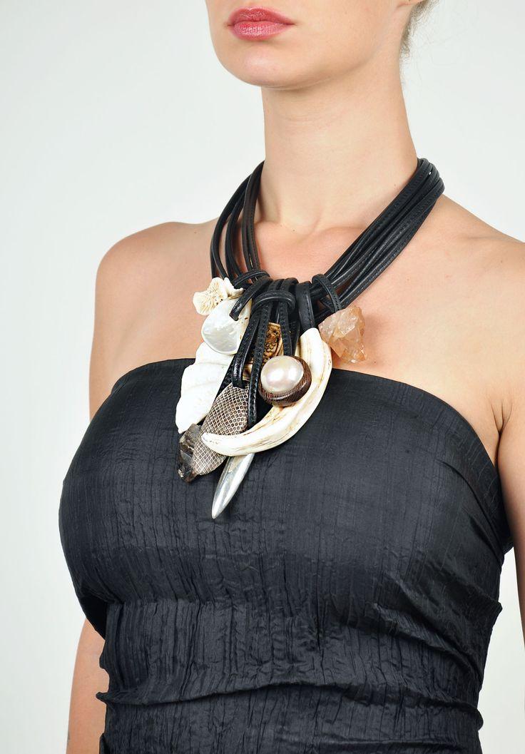 Monies+Snakeskin,+Ebony+&+Mountain+Crystal+Necklace