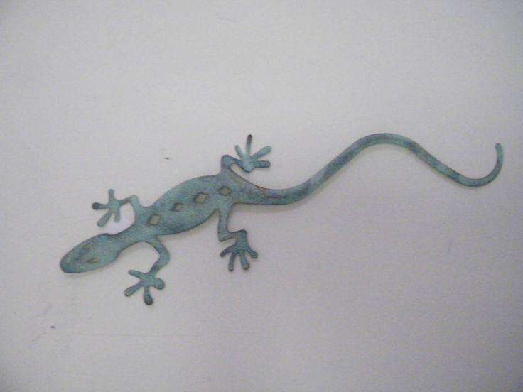 """Green Metal Gecko Home Decor Garden Art Wall Sculpture Southwestern Wall  Decor #Unbranded #Southwestern 24"""" x 7"""""""