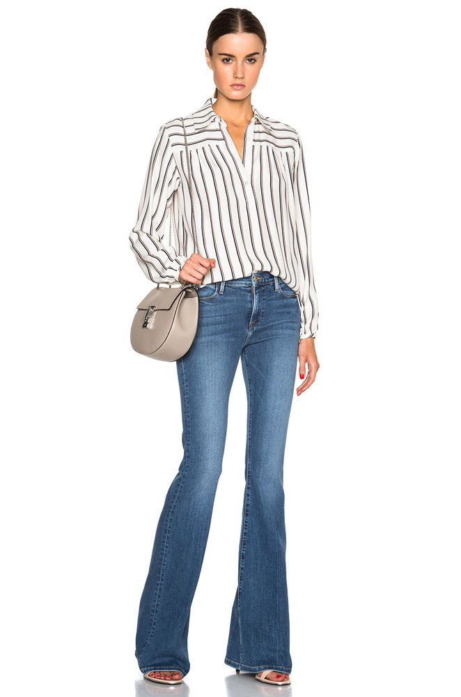 FRAME DENIM Le High Flare Skinny Sexy Mid Rise Jeans Pants in Madison Blue $229 #FrameDenim #Flare