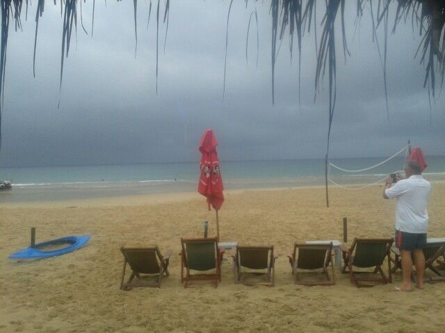 The beach, from Neptune's Bar,  right next to my room. On a rainy day