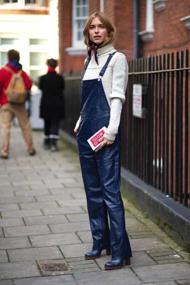 turtleneck + overalls + bandana