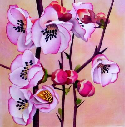 silk painting flowering quince