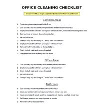 FREE Download: Office Cleaning Checklist gives you a nice checklist for you and your cleaning staff to follow.