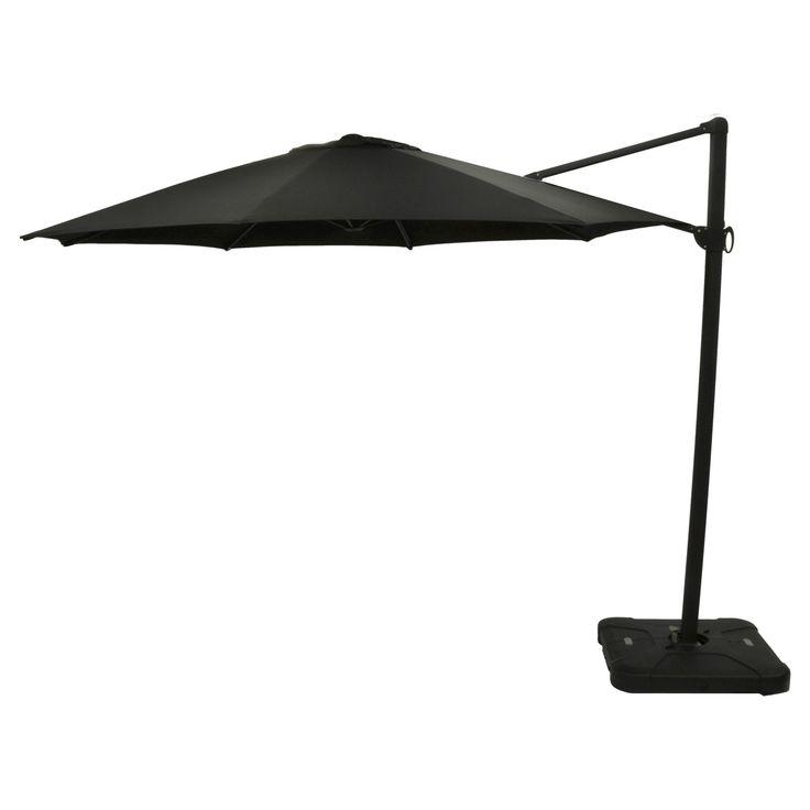 11' Offset Sunbrella Umbrella - Canvas Black - Black Pole - Smith & Hawken