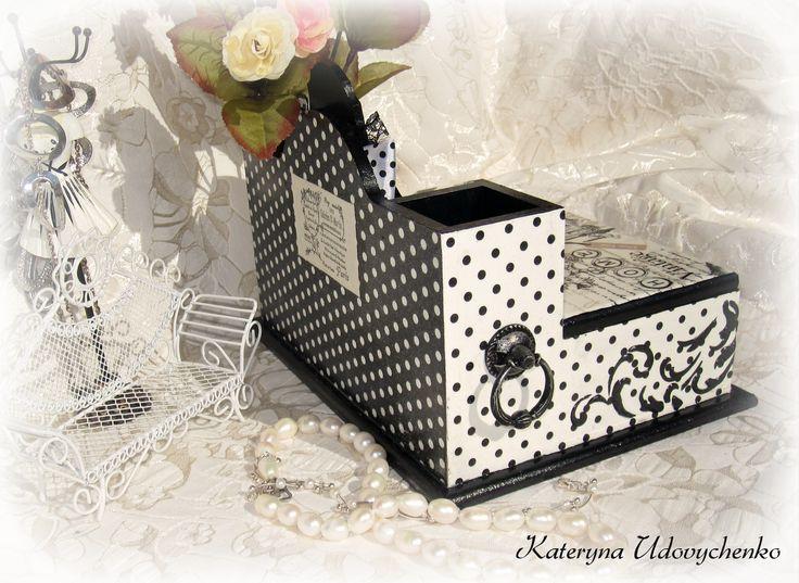 "Handmade mini-bureau for cosmetics or stationary ""Elegance"". Decoupage. Pic.4."