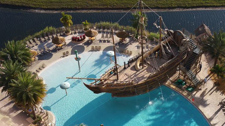 Pool Side Pirate Ship At Lake Buena Vista Resort And Spa