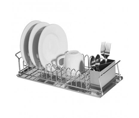 Oggi Compact 3 Piece Dish Drainer by Oggi. $32.99. Protective Qualities: Water Resistant, Break Resistant, Rust Resistant. Metal Finish: Stainless Steel. Finish: Metallic. Material: Stainless Steel, Plastic. Care and Cleaning: Dishwasher-safe. Get yourself some help when you wash the dishes. This 18/8 stainless steel 3-pc. dish drainer set holds up to 14 dishes upright and has a 3-compartment cutlery drainer. The satin-rimmed edge drip tray and wire dinnerware holder...