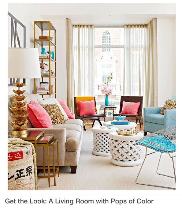 This City Apartment Living Room Looks Fabulous Decked Out In Pink, Cool  Toned Turquoise And Glitzy Bronze Accents. Love It! Pop Of Color In The  Room. Home ...