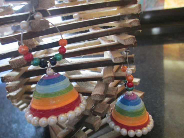 handmade rainbow  jhumkas  with hoop by chocolates and creativity corner