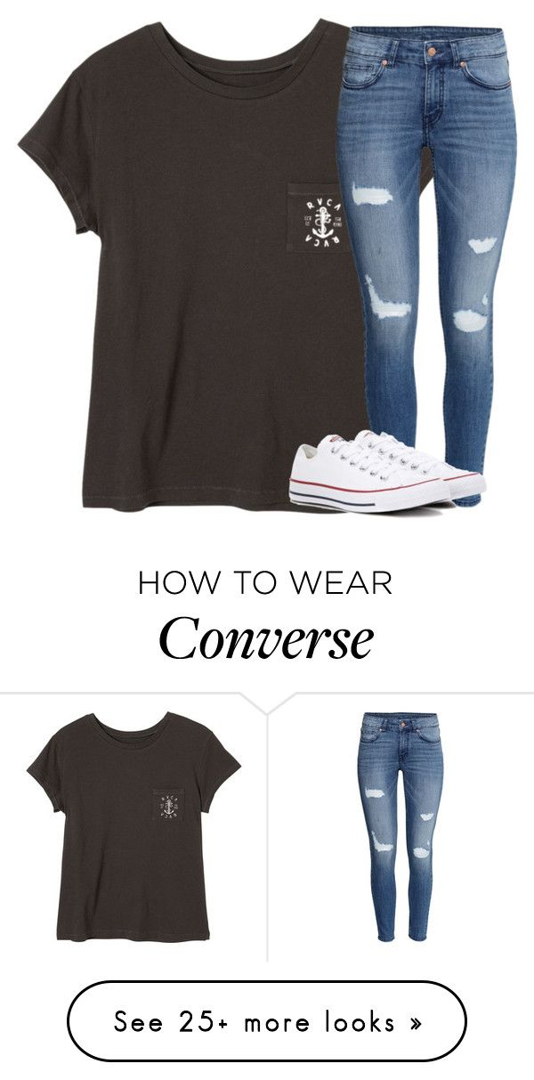 """Untitled #2763"" by laurenatria11 on Polyvore featuring RVCA, H&M and Converse"