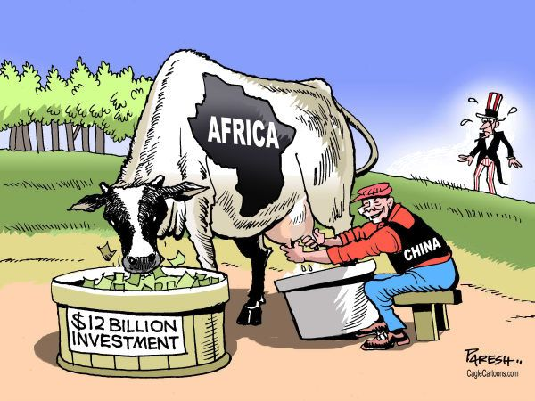 Paresh Nath - The Khaleej Times, UAE - China and Africa - English - China, Africa, milking resources, 12billion, Chinese investment,Uncle Sam, loss for USAChine Invest Uncle, Editorial Cartoons, Chine Investmentuncl, 2012 07 28 Cartoons, 20120728 Cartoons, Politicalcartoon Com Cartoons, Funny Business, Invest Uncle Sam, Investmentuncl Sam