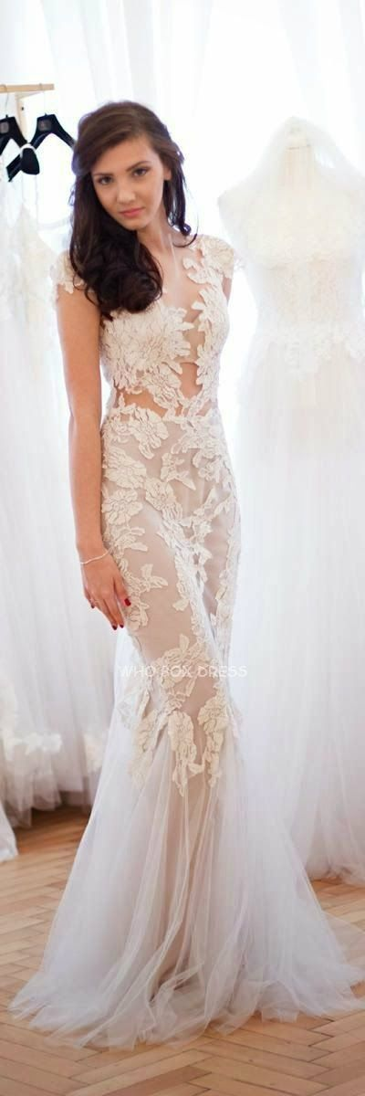 Sheer lace applique wedding dress wedding dresses for Pinterest wedding dress lace