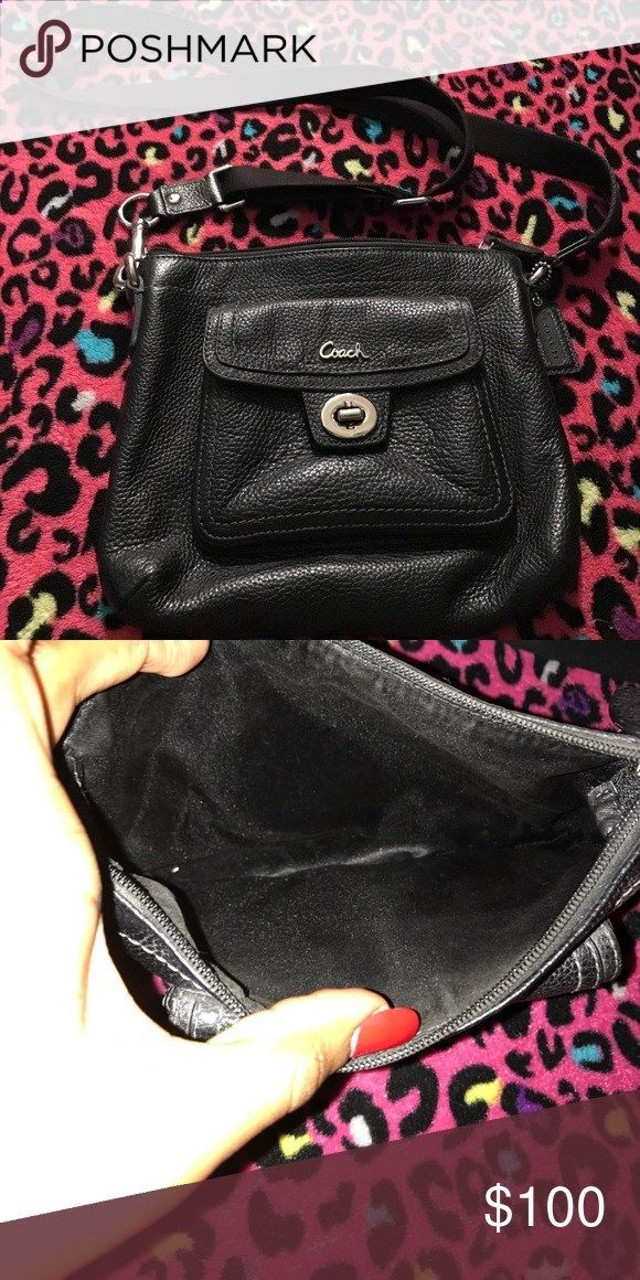 Coach purse Small black coach purse 👛 in good condition. Stitching is still intact straps and handles everything is still intact. Coach Bags Crossbody Bags
